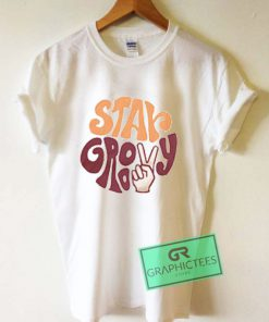 1970s Vintage Inspired Stay Groovy Peace Sign Graphic Tee shirts