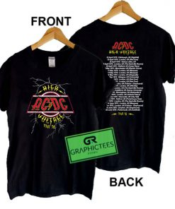 AC DC High Voltage Tour 76 Graphic Tee shirts