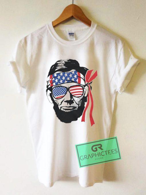 Abraham Lincoln American Flag Graphic Tee shirts