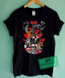Ac dc Guitar Signatures Graphic Tee shirts