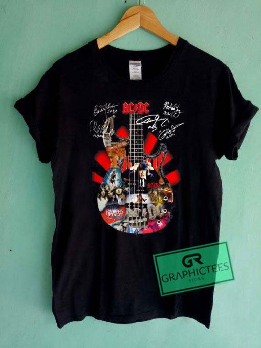 Ac dc Guitar Signatures Graphic Tee shirts