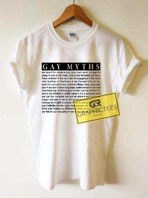 Gay Myths Graphic Tees Shirts