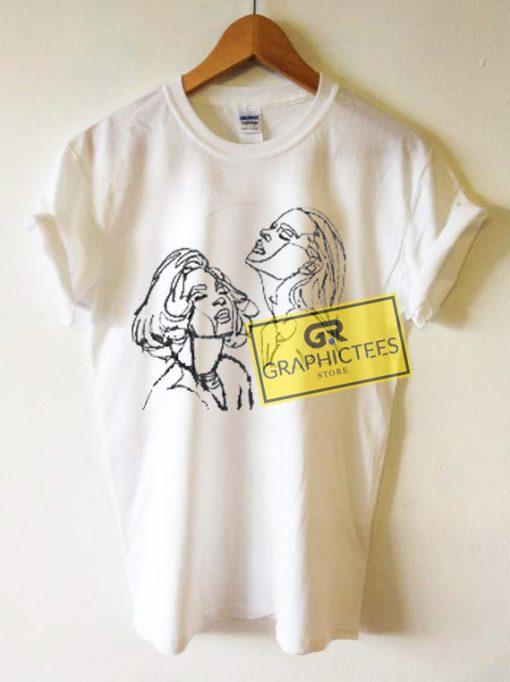 Line Art Women Face Graphic Tees Shirts