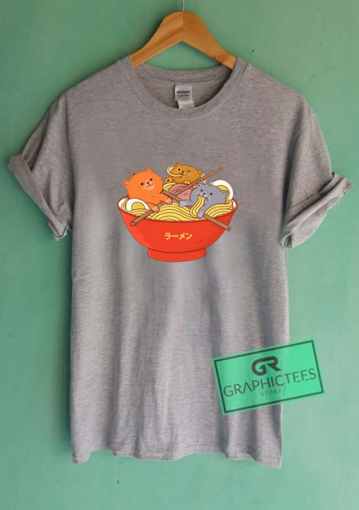 Ramen and cats Graphic Tee Shirts