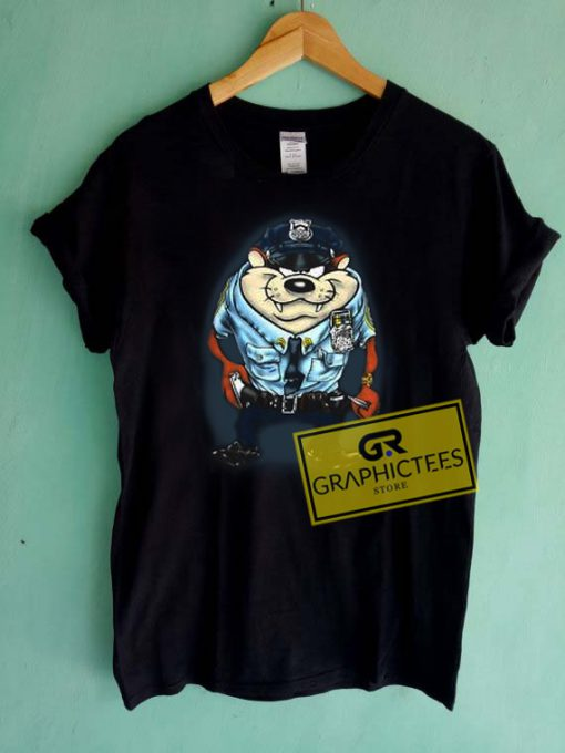 Tazmania Police Officer Graphic Tees Shirts