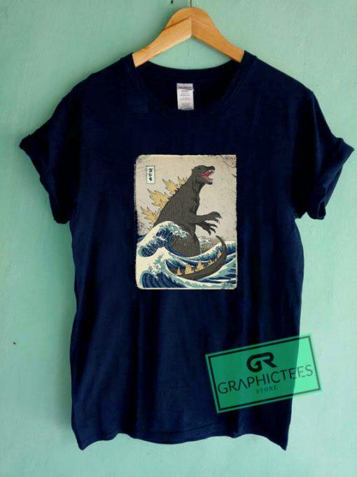 The Great Godzilla off Kanagawa Graphic Tee Shirts
