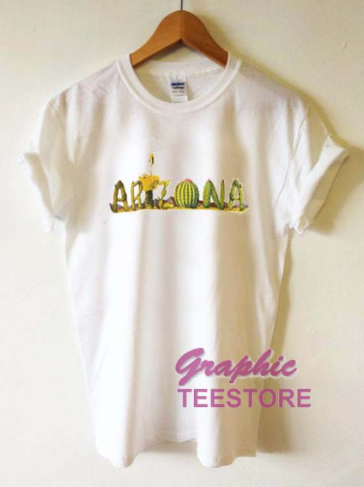 Arizona Letter Cactus Graphic Tee Shirts