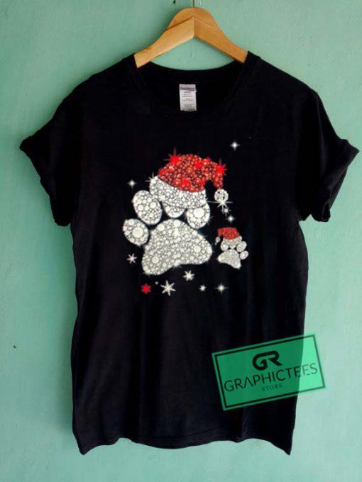 Dog Paw Christmas Printed Graphic Tees Shirts