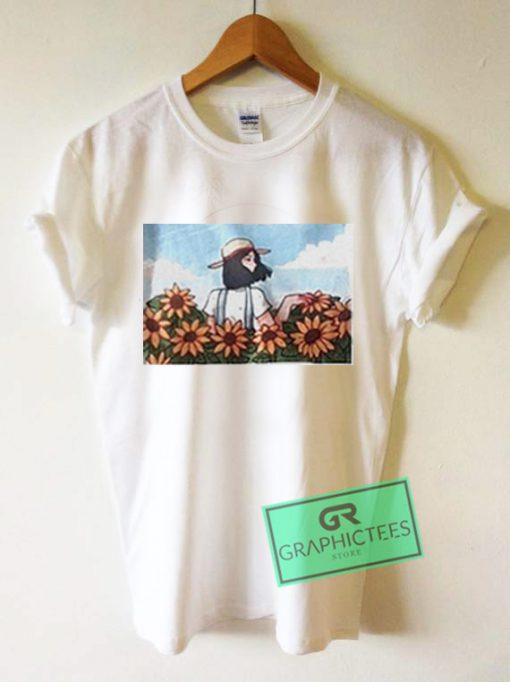 Girl And Sun Flower Comic Graphic Tees Shirts