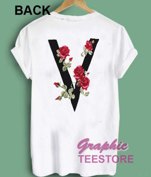 V Flower Rose Graphic Tee Shirts