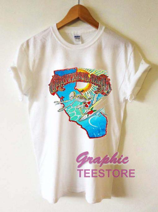 Grateful Dead Surfing Skeleton Graphic Tee Shirts