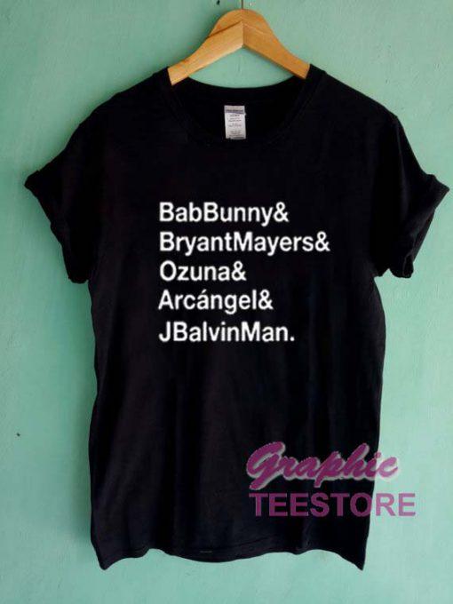 Bab Bunny Bryant Mayers Ozuna Graphic Tee Shirts