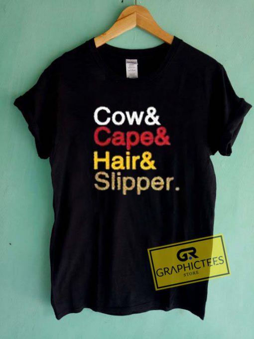 Cow Cape Hair Slipper Graphic Tee Shirts