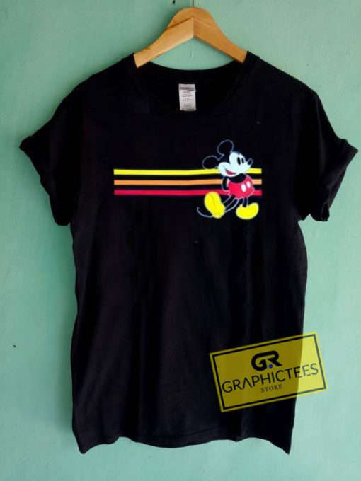 Mickey Mouse Striped Graphic Tee Shirts