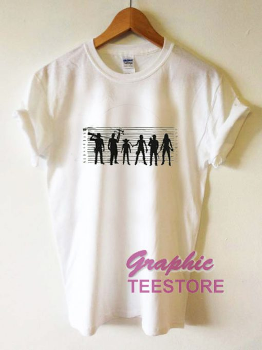 Walking Dead Police Line Up Graphic Tee Shirts