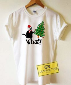 Black Cat What Christmas Tree Tee Shirts