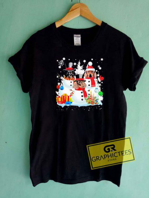 Chihuahuas Snowman Christmas Tee Shirts