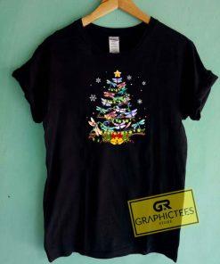Dragonfly Christmas Tree Tee Shirts