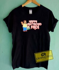 Happy Mustached Face Tee Shirts