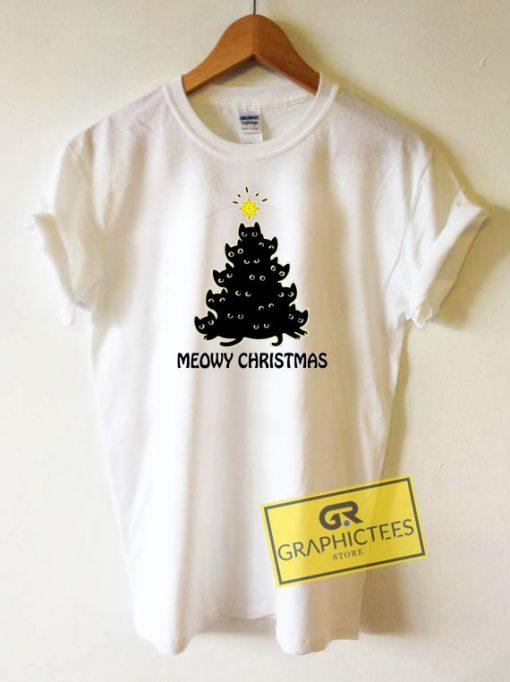 Meowy Cat Christmas Tree Tee Shirts