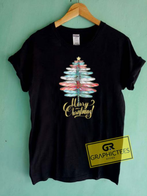 Merry Christmas Dragonfly Tee Shirts