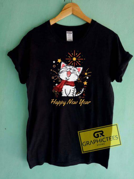 Pretty Cat Happy New Year Tee Shirts