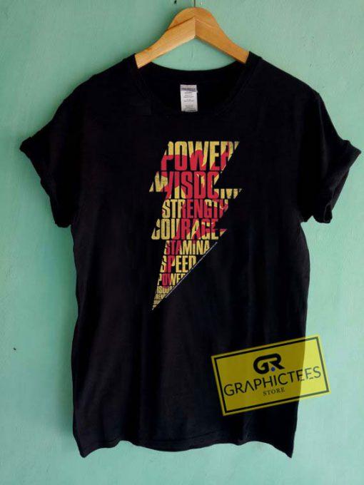 Shazam Bolt Word Collage Tee Shirts