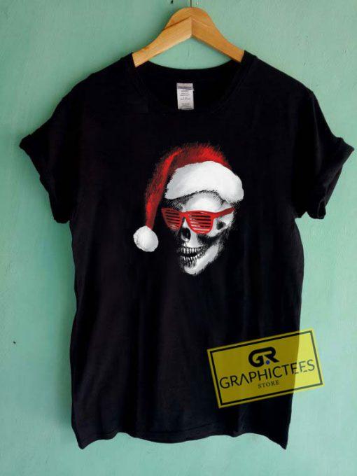 Skull Santa Sunglasses Christmas Tee Shirts