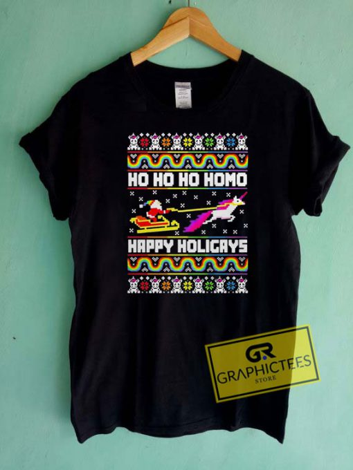 Unicorn Homo Happy Holigays Christmas Tee Shirts