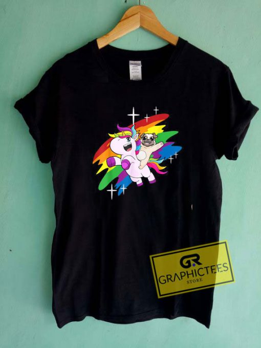 Pug Unicorn Rainbow Tee Shirts