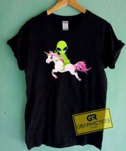 Alien Riding UnicornTee Shirts