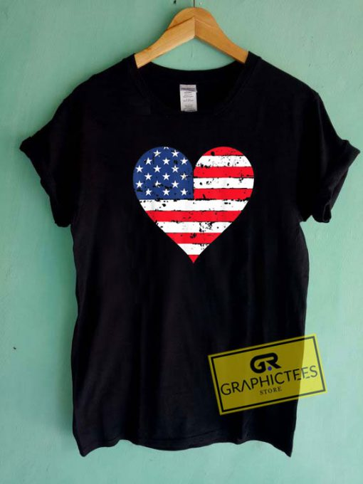 American Flag Heart Tee Shirts