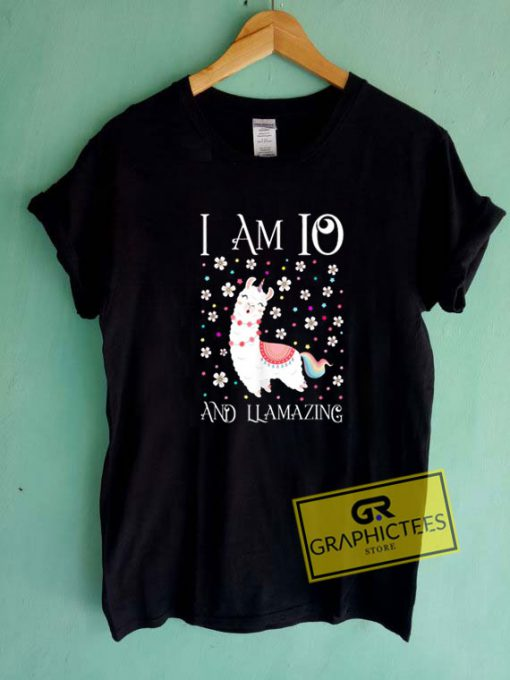 I Am 10 And Llamazing Kids Tee Shirts