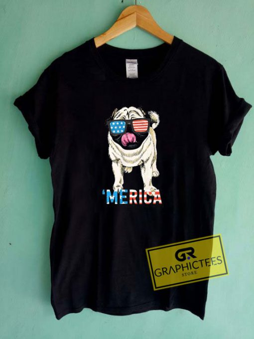 Kids Merica Pug Usa Tee Shirts
