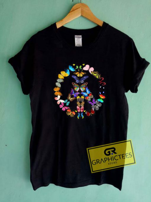 Peace Sign Butterflies Tee Shirts