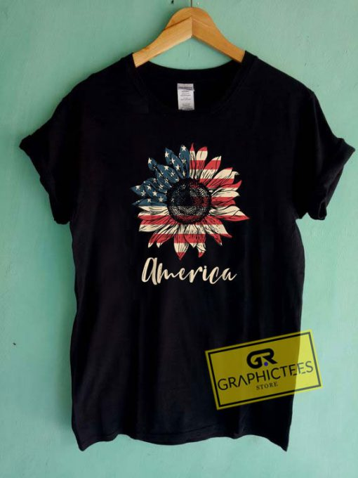 America Sunflower Tee Shirts