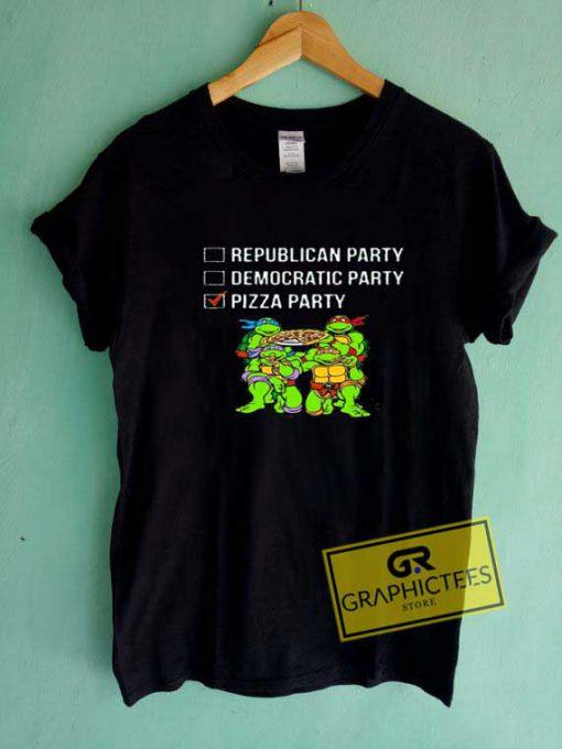 Ninja Pizza Party List Funny Tee Shirts